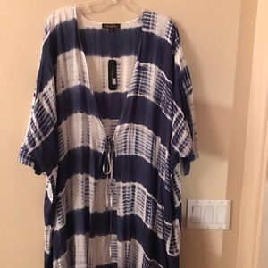 NWT - Long Blue & White Tie Dyed Duster
